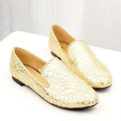[grxjy5190484]Fashion Black / Gold Lace Point Toe Slip On Loafer Flats / pgfancy- fashion online shopping mall