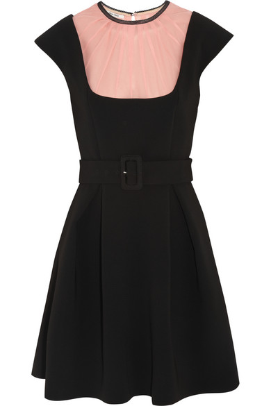 Miu Miu | Silk chiffon-paneled crepe mini dress | NET-A-PORTER.COM