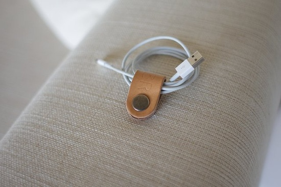 Leather cable holder - oker - Leather Goods