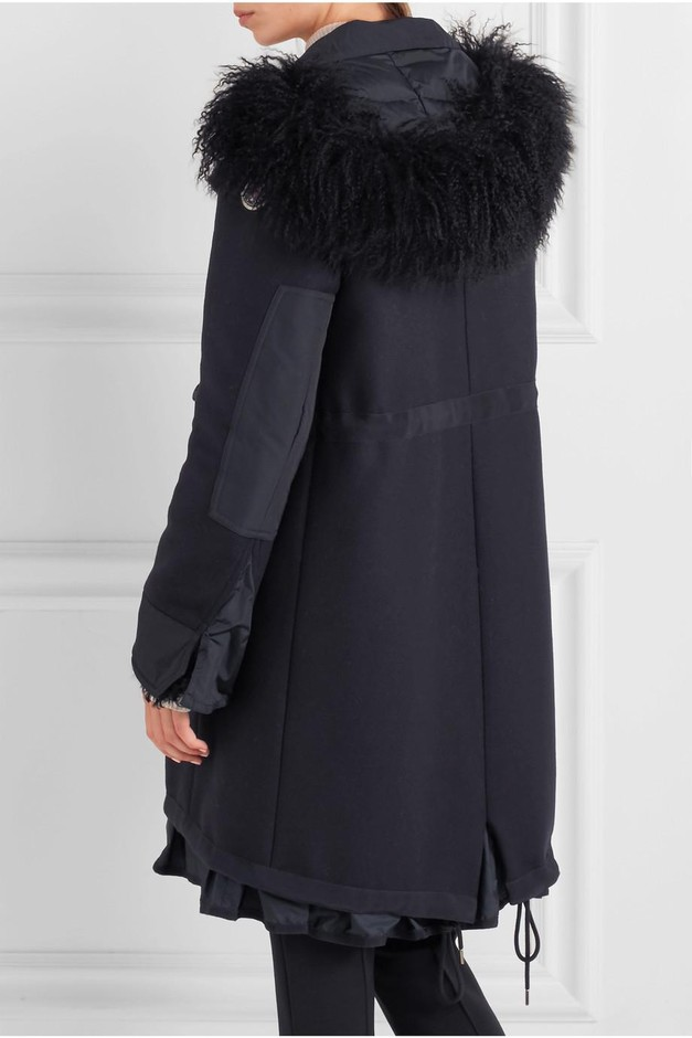 Moncler   Blanche shearling and twill-trimmed wool-blend coat   NET-A-PORTER.COM