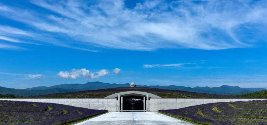 Tadao Ando surrounds huge buddha statue with lavender-covered mound