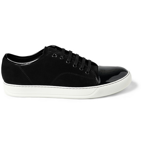 Lanvin Suede and Patent Leather Sneakers | MR PORTER