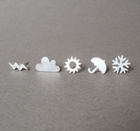 sterling silver weather forecast ear studs set of 6 by huiyitan