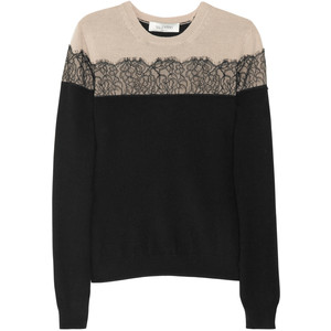 Valentino Lace-appliquéd wool-blend sweater - Polyvore