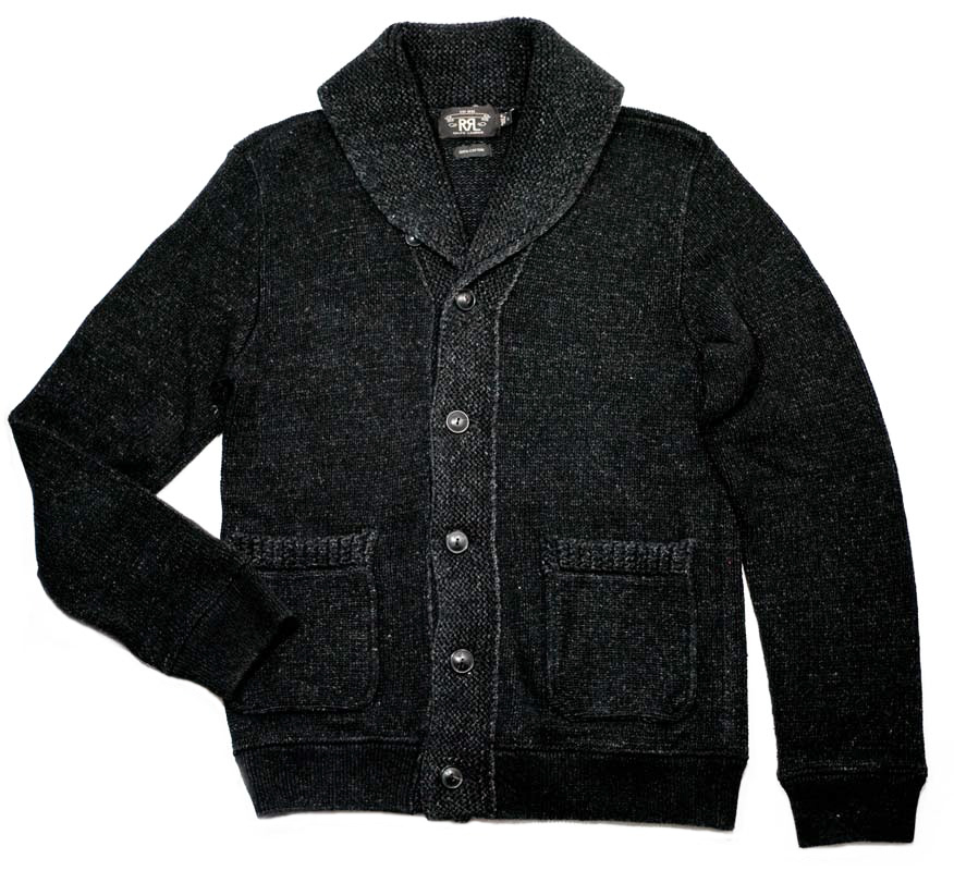 RRL BLACK INDIGO COTTON KNIT SHAWL CARDIGAN