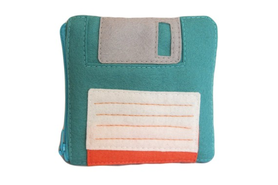 Floppy Disk Pouch Teal by BraveMoonman on Etsy