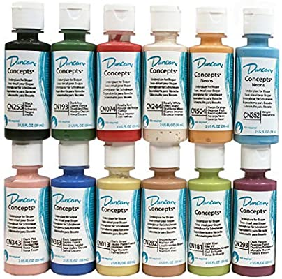 Amazon.com: Duncan CNKIT-1 Concepts Underglaze Paint Set, 12 Best Selling Colors in 2 Ounce Bottles with Free How to Paint Ceramics Book