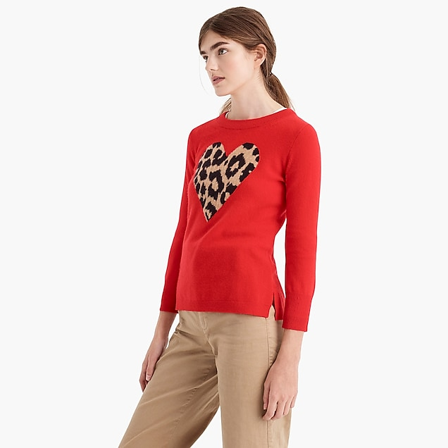 Everyday cashmere crewneck sweater with leopard heart : Women pullovers | J.Crew