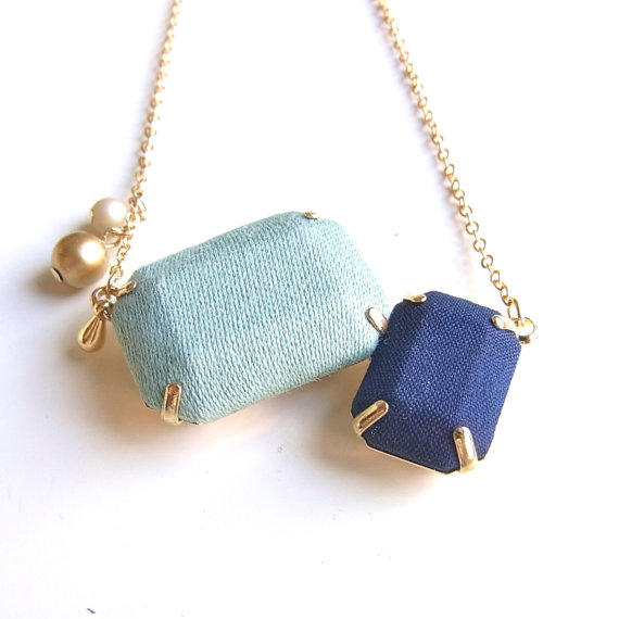 Fabric 2 Jewel Necklace D by HOMAKO on Etsy