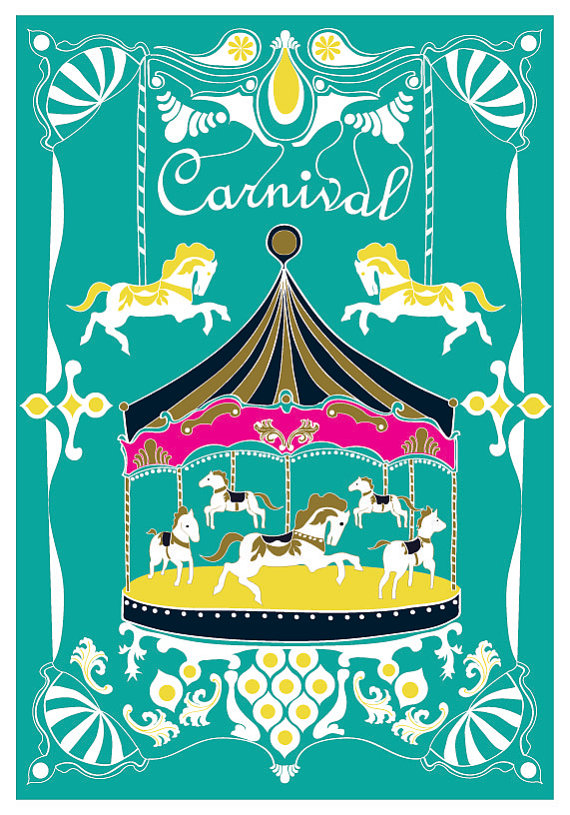 Large 13 X 19 / Poster / Merry Go Round Print / by dekanimal