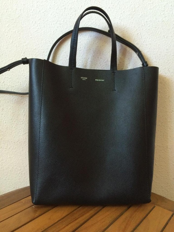 authentic celine black vertical cabas leather tote bag w