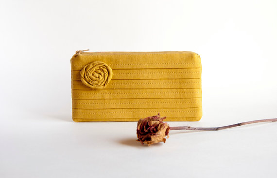 Mustard Bridal Pouch Or Bridesmaids Clutch, Purse - Romantic Rose Pleats By Lolos   Luulla