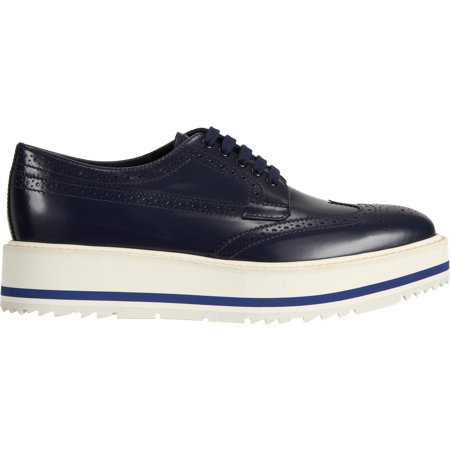 Prada Wingtip Brogue Platform Sneakers at Barneys.com