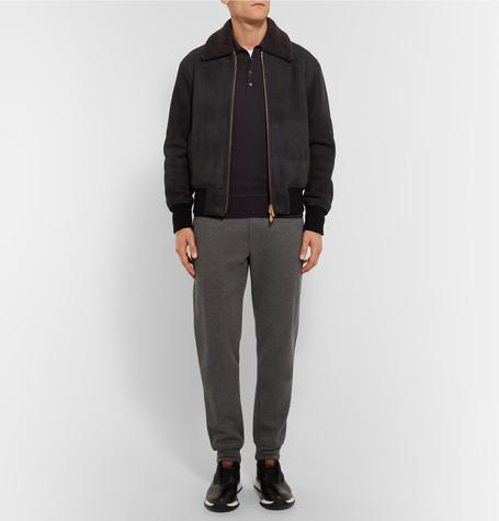 Berluti - Shearling-Trimmed Suede Bomber Jacket