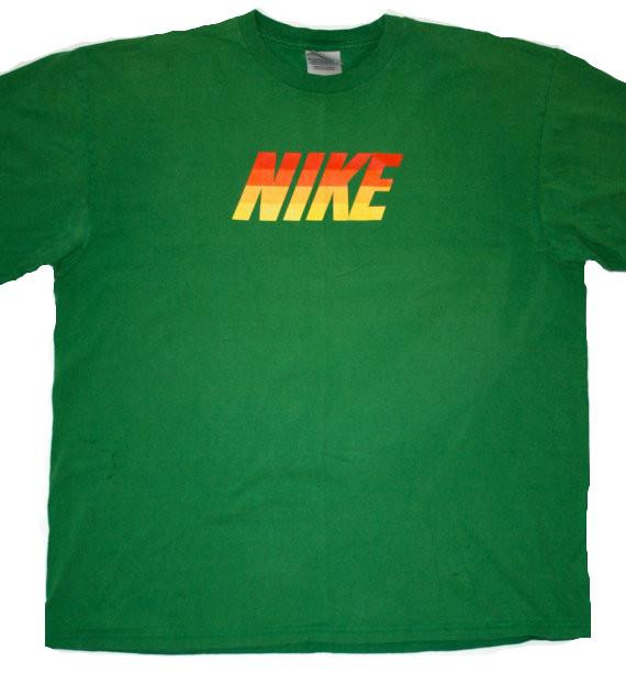 Vintage 90's Green Nike Graphic Tee Mens Size XL available at Vintage Mens Goods. | vintagemensgoods