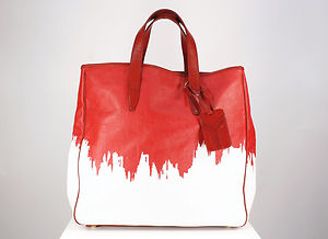 Yves Saint Laurent Rive Gauche Red and White Painted Canvas Tote Bag | eBay