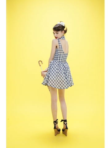 Gingham check halter one-piece - Honey mi Honey Online Store