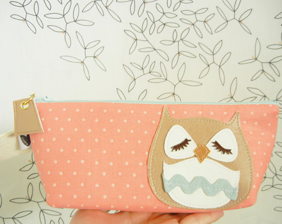 Stewart the Owl Pink Peach Polka Dot Vintage Inspired by Cuore