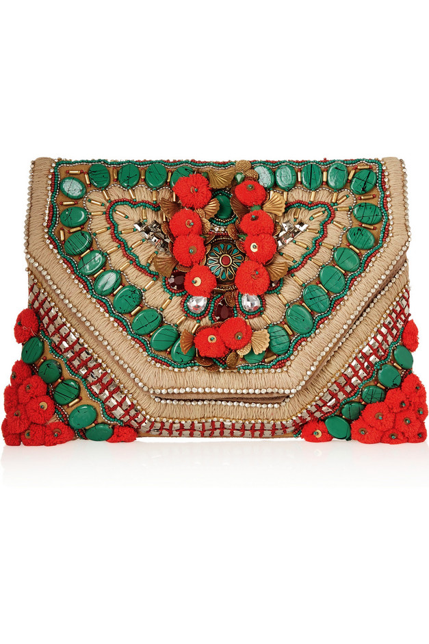 Antik Batik | Cuzco embellished embroidered suede clutch | NET-A-PORTER.COM