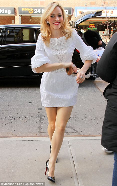 Rachel McAdams shows off two chic styles as she takes promotional film tour to New York | Daily Mail Online
