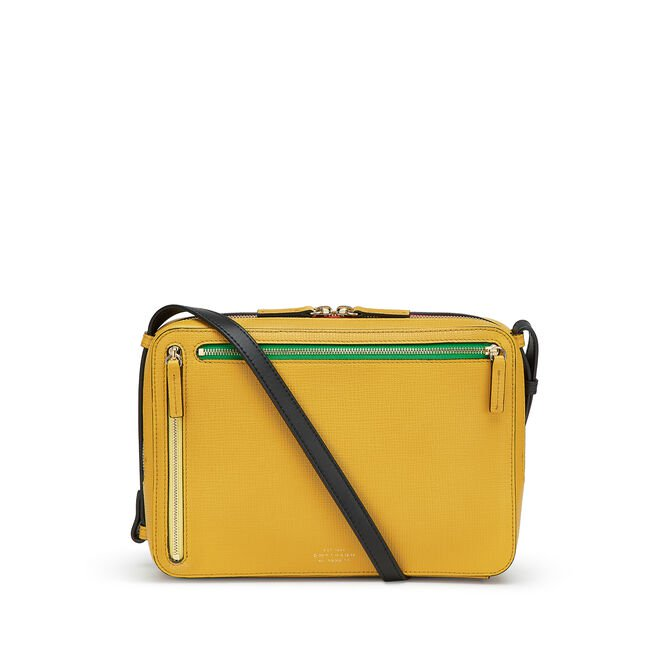 Sliding Strap Zip Crossbody Bag in Crossgrain Leather | Smythson