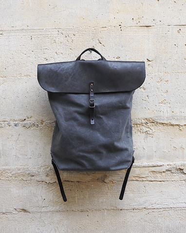 Waxed Canvas Backpack In Charcoal By Stanley by Matatabby   Nuji