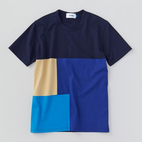 Patchwork - Color Block S/S T-shirt (Navy-Beige) - Aloye Store