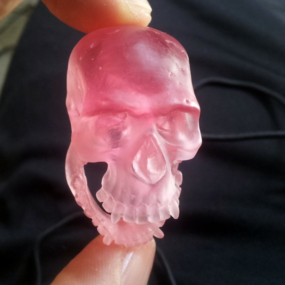 Chewy the Skull Teething Ring Pink Sculpted by KilroysAttic