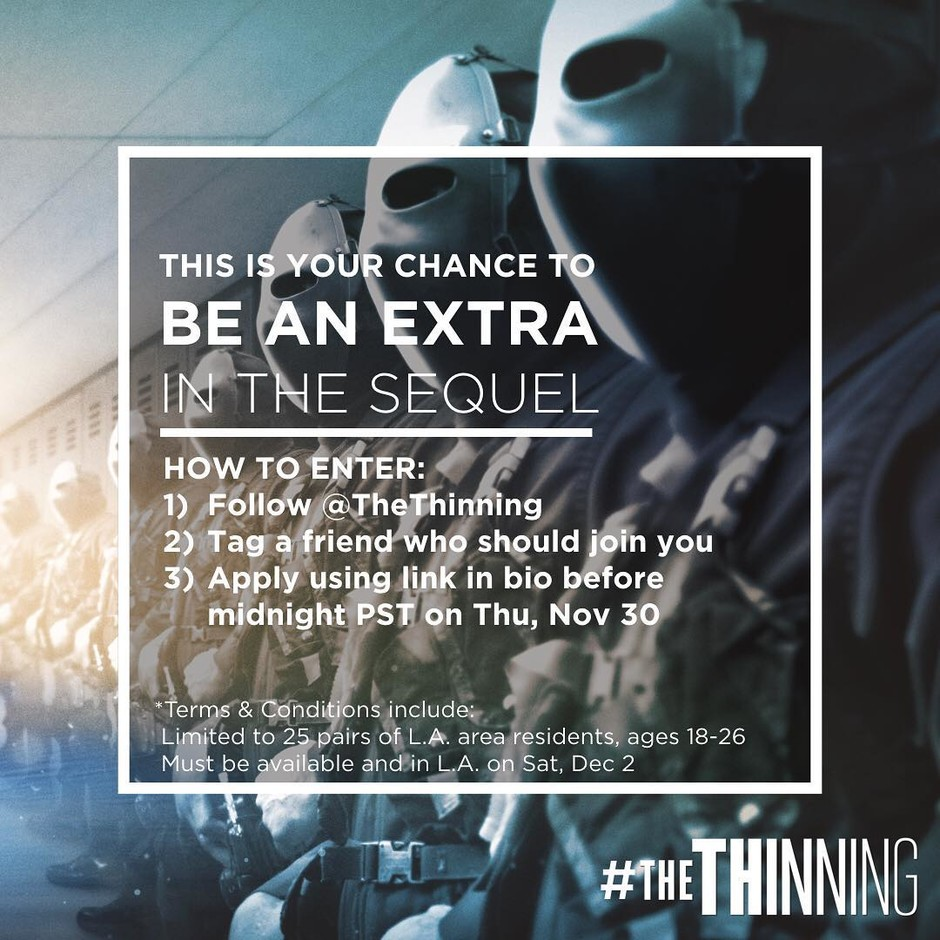 """The Thinning: New World OrderさんはInstagramを利用しています:「Here's your chance to be an extra in a movie! You and one friend will go on the set of @loganpaul & @peytonlist 's """"TheThinning : New World…」"""