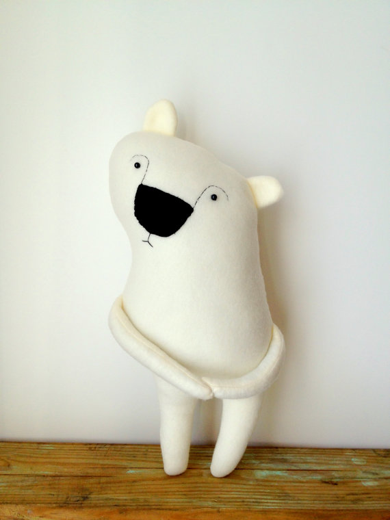 Boris the Shy Polar Bear Plush Toy by finkelsteins on Etsy