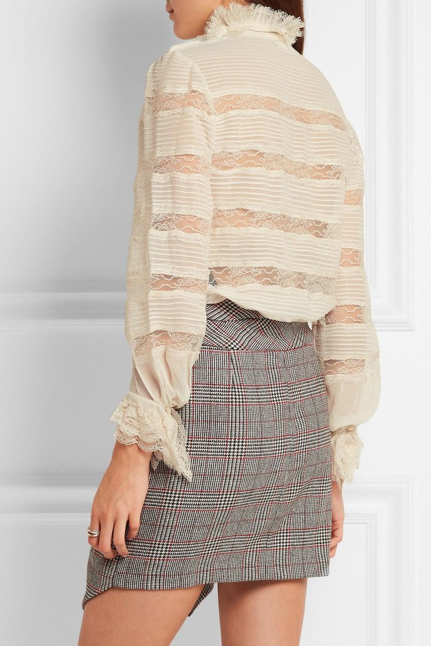 Isabel Marant | Sondra pintucked silk-georgette and lace turtleneck blouse | NET-A-PORTER.COM