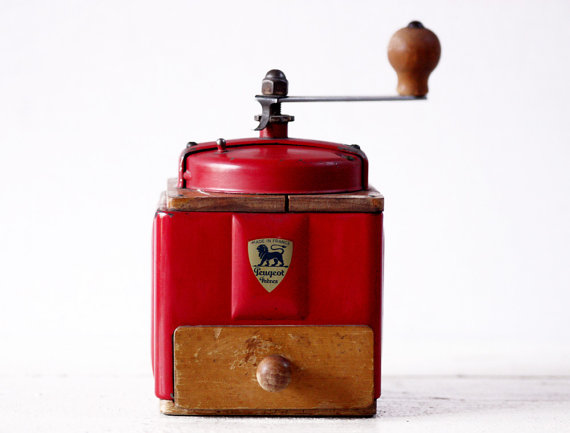 FRENCH PEUGEOT RED Metal and Wood coffee grinder by RueDesLouves