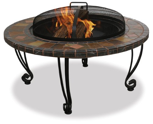 Amazon.com : UniFlame WAD820SP 34-Inch Slate & Marble Firepit with Copper Accents : Fire Pits : Patio, Lawn & Garden
