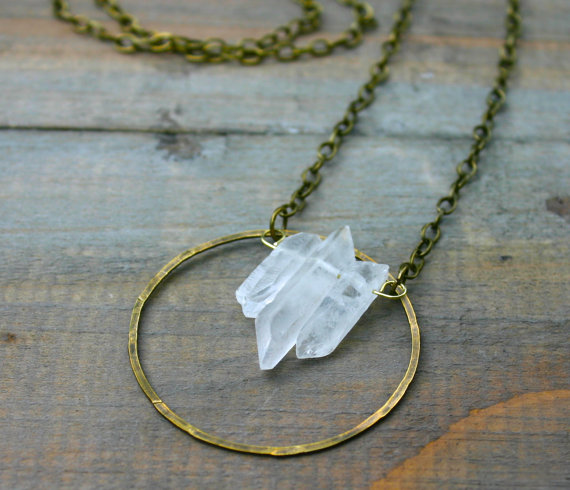 Triple Quartz Point and Brass Circle Necklace by xVELVETx on Etsy