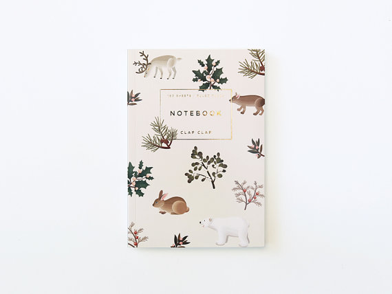 Wild Animals Notebook Cream by clapclapdesign on Etsy