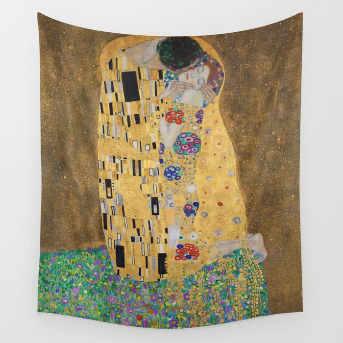 Gustav Klimt, The Kiss (Lovers), 1908 - Reproduction under Belvedere, Vienna, Creative Commons License CC BY-SA 4.0 Wall Tapestry by beautifulhomes | Society6