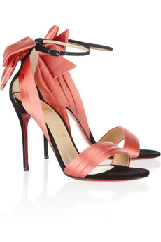 Christian Louboutin | Vampanodo 100 suede and sateen sandals | NET-A-PORTER.COM