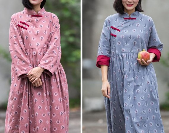 Cotton gray pink Loose Fitting dress for women Vintage | Etsy