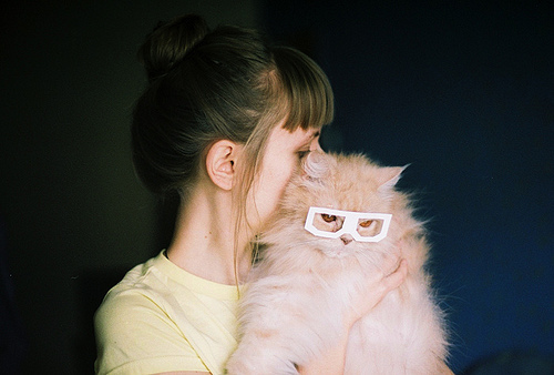 cat, cute, girl, glasses, photography - inspiring picture on Favim.com
