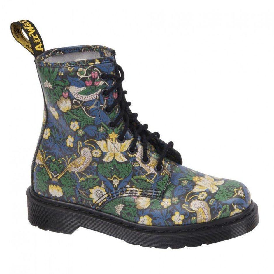 "Pre-Order your Liberty London Dr. Martens Floral Print Boots in ""Strawberry Thief Print"" 