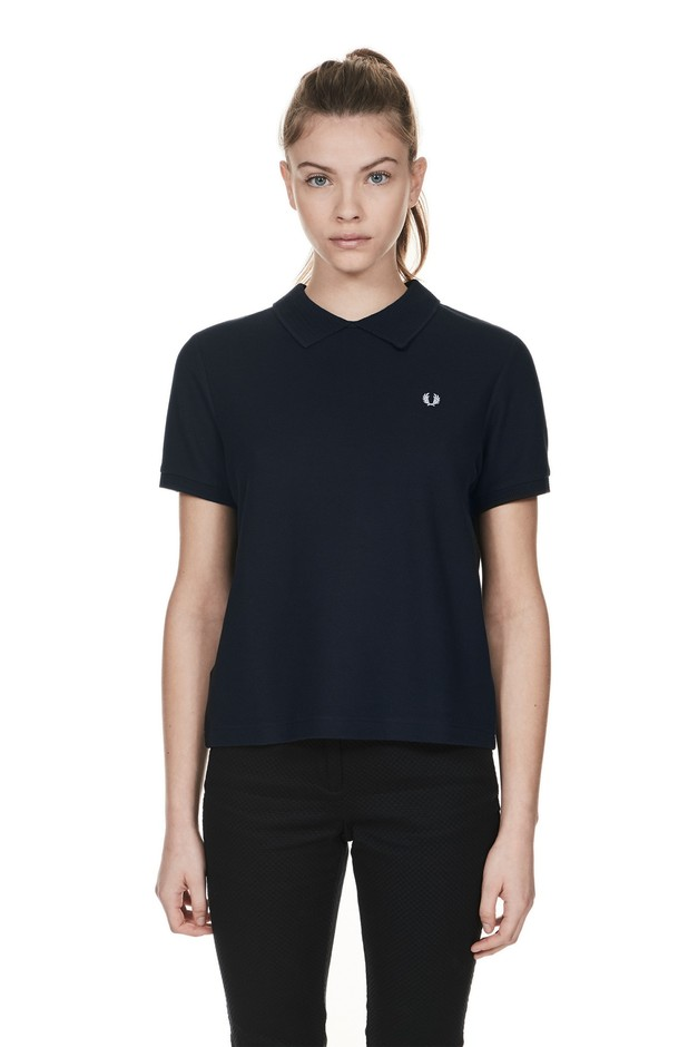 Fred Perry - Textured Collar T-Shirt Navy