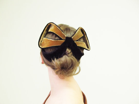 Etsy Transaction - RESERVED for Mie Ru 1950s Velvet Bow Half Hat / 50s Fascinator / Bronze and Black / 50s Hat / Whimsies by Norman Paulvin