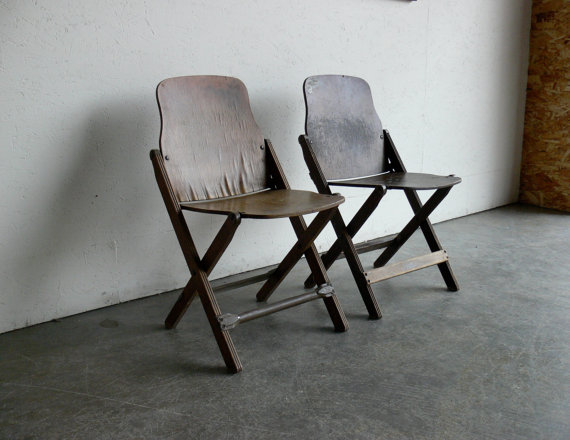 Etsy Transaction - Wood Folding Theater Chairs (Set of 2)