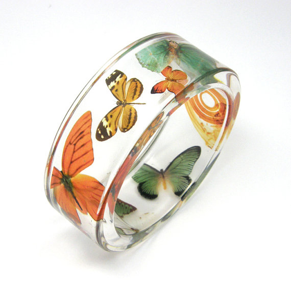 Orange and green Butterflies Bracelet size s by sisicata on Etsy