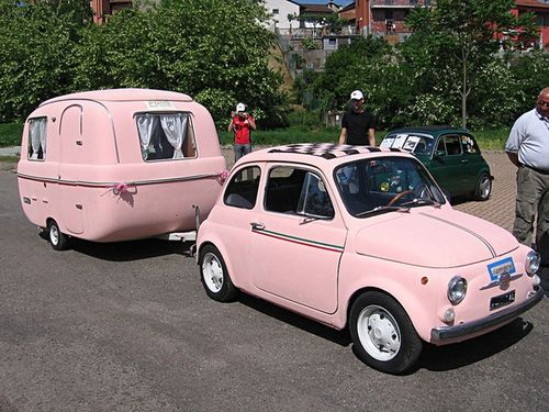 Pink Fiat 500 and camper on imgfave