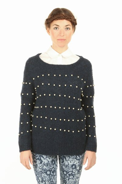 GIRL BY BAND OF OUTSIDERS BOATNECK PEARL DETAIL PULLOVER - WOMEN - GIRL BY BAND OF OUTSIDERS