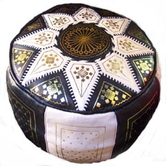 Authentic Morocco : Black and Beige Moroccan Pouf Morocco