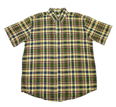 Orvis Plaid Button Down Shirt in Yellow/Green Menswear Clothing Mens Size XL