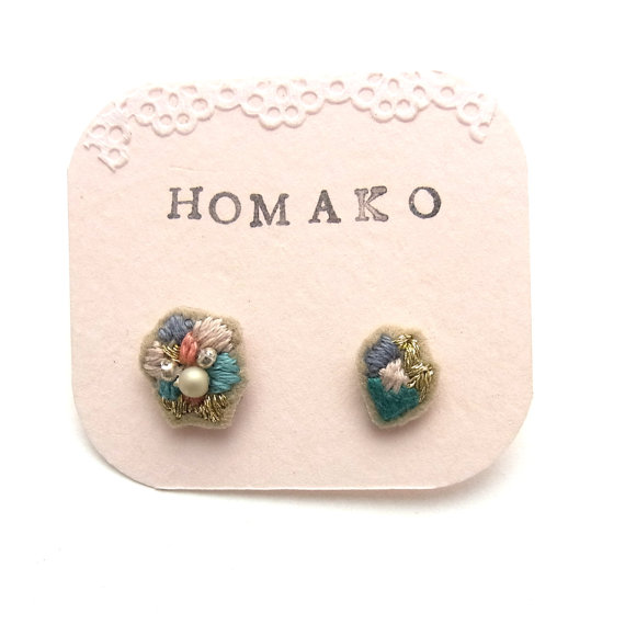 NEW Hand Embroidered Earrings MIX 01 by HOMAKO on Etsy
