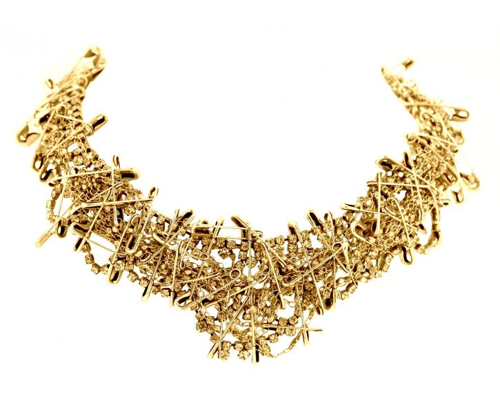 SMALL GOLD MULTI SAFETY PIN NECKLACE - Tom Binns